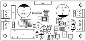 Усилитель PD-LM3886-IV2.  Позиции деталей сверху.