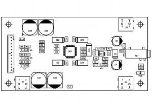 Усилитель  PD-TPA3004D. Позиции деталей снизу.