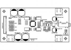 Усилитель  PD-TPA3004D. Типы деталей сверху.